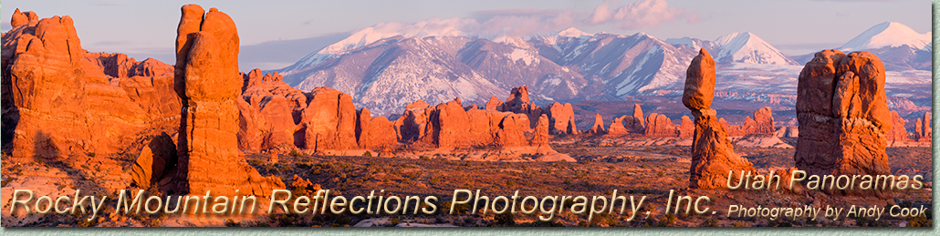 Welcome to a gallery of Utah, panoramic, landscape photography. Exquisite Photographs of Utah by landscape photographer Andy Cook.