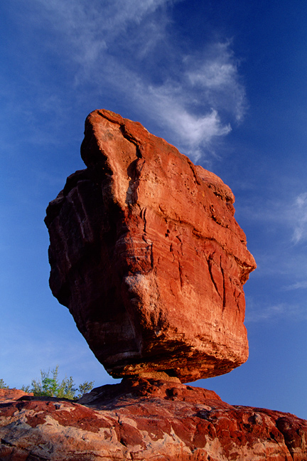 Sunrise photograph of Balanced Rock in Garden of the Gods, Colorado Springs, Colorado.