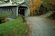 Autumn photograph of a Vermont covered bridge.