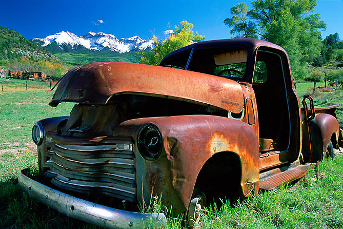 Photograph of an old truck near Ridgway, Colorado.