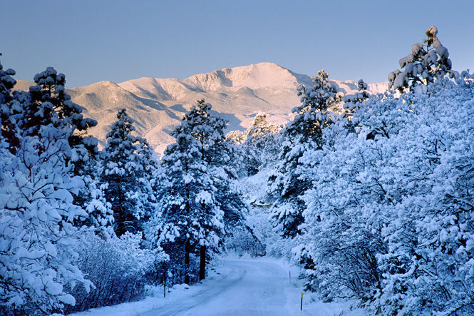 Winter, snowy photograph of Pikes Peak, Colorado Springs.